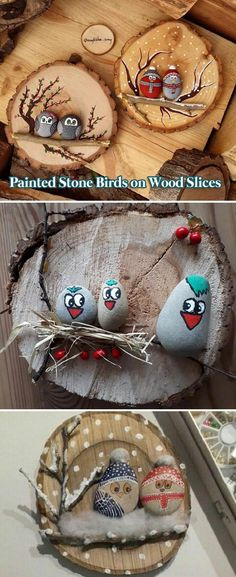 Painted stone birds on wood slices