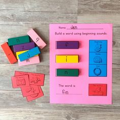 Fine motor   word building = engagement and learning! This is a word work activity for small groups or centers at home or school. Great for kindergarten and first grade who are working with sounds and CVC words.