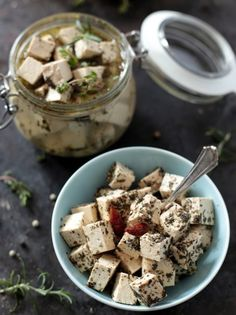 The best snack ever: Vegan tofu feta cheese! Try with miso and nutritional yeast for the perfect cheesy result.