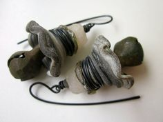 Distant Music - primitive assemblage archeology verdigris jingle bell, gray lampwork glass bead cap, Roman glass, trade bead, copper earring by LoveRoot on Etsy