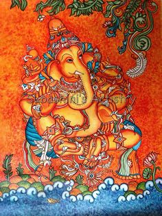 Kerala mural Ganesha Kerala Mural Painting, Tanjore Painting, Lord Ganesha, Jai Ganesh, Shree Ganesh, Music Painting, Painting Tips, Art Forms Of India, Indian Paintings
