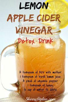 Vinegar Detox Drink, Apple Cider Vinegar Detox, Apple Cider Vinegar Challenge, Apple Cider Vinegar Benefits, Weight Loss Meals, Weight Loss Drinks, Healthy Detox, Healthy Drinks, Healthy Water