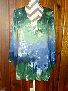 Blue & Green High Low Tunic Top Cover-up Bell 3/4 Sleeve Tie Dye Rayon Blouse #LocalCelebrity #Tunic #Casual