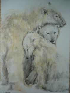 Pastel Painting of Polar Bear Family £15.00