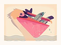 Another print from my online shop #pelican #fish #animal #nature #illustration #artprint