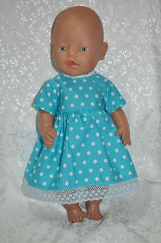 "Dolls Clothes for 17"" Baby Born Doll ~ Reborn Dolls ~ Blue Dress and Knickers"