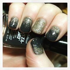Grey with gold glitter accent nail art