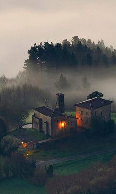 Foggy dusk, Spain