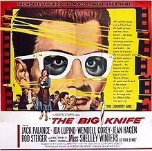 The Big Knife is a 1955 film noir directed and produced by Robert Aldrich from a screenplay by James Poe based on the 1949 play by Clifford Odets. The film stars Jack Palance, Ida Lupino, Wendell Corey, Jean Hagen, Rod Steiger, Shelley Winters, Ilka Chase, and Everett Sloane.