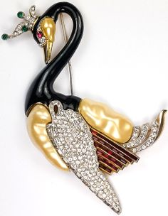 Trifari 'David Mir' Pave Invisibly Set Rubies and Pearl Belly 'Jewels of Fantasy' Giant Ming Swan Pin