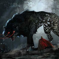 Thor : Ragnarok / Fenrir – concept art by Aleksi Briclot Dark Fantasy Art, Fantasy Wolf, Fantasy Kunst, Fantasy Artwork, Dark Art, Demon Artwork, Arte Horror, Horror Art, Fenrir Tattoo