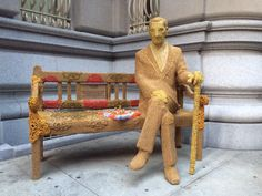 Artist Olek Crochets the Jan Karski Bench at Polish Consulate in NYC.