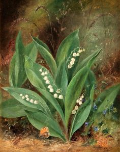 Albert Dürer Lucas [English painter of still-life and flowers, 1828-1918] - 'Lily of the Valley', 1871 - oil on canvas