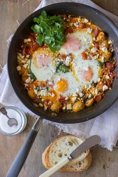 "Baked Egg Breakfast Skillet in my latest ... Home Cookin' !!! (Great Homes, Great Food!!!)  ""I Got To Go"" …to a Quiet Cabin, for a Quiet Breakfast,  in Vastra Karup, Sweden"