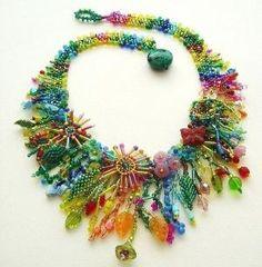 Beadweaving Tutorial No 9 Jungle Collar by nemeton on Etsy, #beadwork by elisa