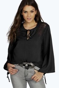 Tammy Crochet Detail Wide Sleeve Woven Blouse