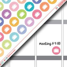 Briefcase Planner Stickers - Dot Icon - Erin Condren Life Planner - Happy Planner - Work - Business Meeting - Career - Matte or Glossy
