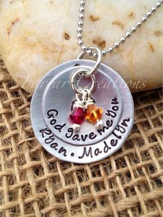 God gave me you Personalized Hand stamped by FarrarCreations, $33.00