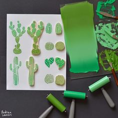 Worked up a carved collection of cacti this afternoon! Looking forward to block printing these on textiles soon and hopefully adding them to my growing collection of silkscreen prints as well! Stamp Printing, Printing On Fabric, Stencil, Make Your Own Stamp, Cactus, Stamp Carving, Handmade Stamps, Silk Screen Printing, Linocut Prints