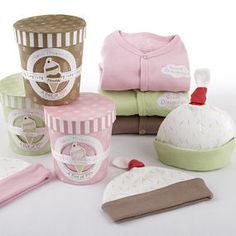 SALE PRICE $8.95  Footed baby pj's in an ice cream carton - TOO CUTE!!