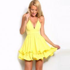 Fashion Ladies Women Sexy Strap V-Neck Ruffles Hem Slim Casual Party Pleated Chiffon Dress
