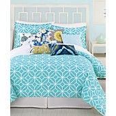 Trina Turk Bedding, Trellis Turquoise Twin Comforter Set