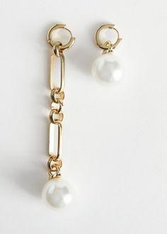 Mismatch Pearl Pendant Earrings - Gold - Drop earrings - & Other Stories Mini Hoop Earrings, Hanging Earrings, Gold Drop Earrings, Pendant Earrings, Pearl Pendant, Crystal Earrings, Women's Earrings, Birthstone Jewelry, Cute Jewelry