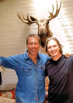 """Darren Burrows: """"John Corbett and I. Somethings never change- brothers in arms. And really I think this picture says it all better than I ever could- Oh BTW, yes, that is the moose from Maurice's cabin on John's living room wall"""" John Corbett, Northern Exposure, Mystery Science, Miss You Guys, Brothers In Arms, Human Condition, Old Tv, Best Shows Ever, Hollywood Stars"""