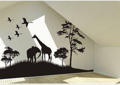 Safari Animals Wall Decal Africa giraffe and by DreamkidDecal, $55.00