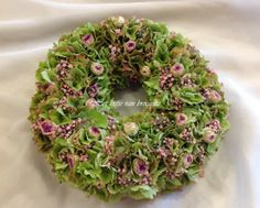 Homemade wreath with hydrangea roses and gypsophila.....