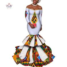 dress hot Vestidos Dashiki women's dress cotton print traditional African clothing fishtail and ground clothing women 1 2 African Prom Dresses, African Fashion Dresses, African Dress, Blue Dresses, African Wear, African Style, Ankara Gowns, African Attire, Maxi Dresses
