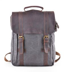 6d70ab7c12 GOOTIUM Canvas Backpack Sac à Dos Loisir et Trekking pour Ordinateur  Portable 15,6 Pouces en Lin et Cuir Homme/Femme, 43 cm, 15 L, Gris:  Amazon.fr: Sports ...