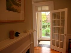 Additional glass on door top section French Doors, Family Room, Divider, Entryway, Windows, Traditional, Wood, Interior, Glass