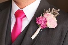 Fuchsia and pink dried flower boutonniere - from the Valentine's Day Wedding Lookbook #wedding #valentinesday #romantic #lookbook #boutonniere #fuchsia
