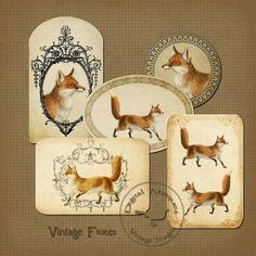Vintage Fox Tags Printable Tags Instant Digital by DigitalAntiques, $3.75