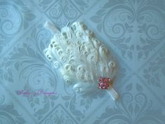 ON SALE!!  White Feather Headband Fits 06 MonthsREADY to SHIP by babyzdesigns, $9.00