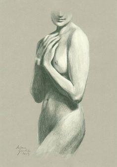 ORIGINAL DRAWING Female nude 9 by Milena Gawlik  by MilenaGawlik