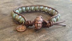 "Buddha Single Wrap Leather Bracelet ""Aum/Om Beach Chic""., via Etsy."