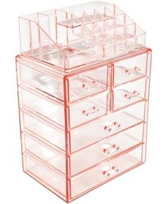 Sorbus Acrylic Cosmetic Makeup and Jewelry Storage Case Display - Spacious Design - Great for Bathroom, Dresser, Vanity and Countertop Large, 4 Small Drawers, Pink) Makeup Storage Case, Makeup Storage Organization, Make Up Storage, Acrylic Makeup Storage, Bathroom Makeup Storage, Storage Ideas, Makeup Storage Walmart, Makeup Storage Rose Gold, Acrylic Makeup Organizers