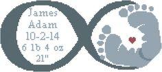 Modern Baby Cross Stitch Pattern Infinity Symbol with Baby Feet Birth Record No Chevron