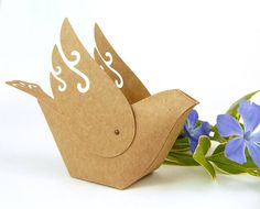 Bird Favor Boxes Set of 10 Decorative Kraft by WishDesignStudio, $45.00