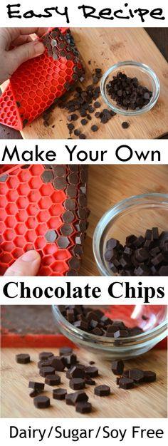 Make Your Own Chocolate Chips - Vegan- Paleo - Sugar Free Df, sf.