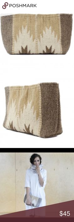 """Coming soon large Clutch Aztec Boho 100% wool These clutches, many in on-trend neutral tones, were made by Zapotec women who are paid fairly for their beautiful work. 6"""" X 11"""" X 3"""", so it's a good size for a clutch. Zip enclosure and one lined pocket. Hand-dyed and handwoven. Bags Clutches & Wristlets"""