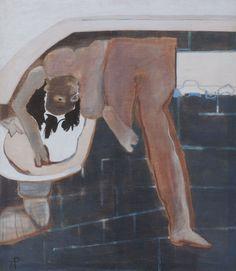 Teresa Pągowska - Myjąca głowę (z cyklu figury magiczne), 1967, olej na płótnie, 150 x 130 cm