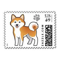 +shiba inu line art | Cartoon Akita Inu / Shiba Inu Stamps