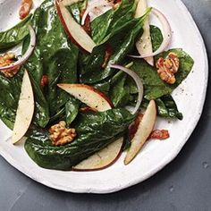Warm Pear & Spinach Salad with Maple-Bacon Vinaigrette - EatingWell.com