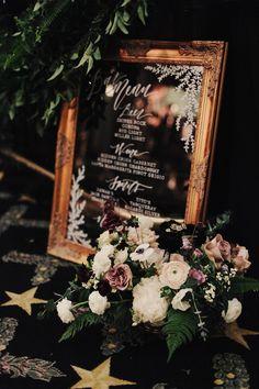texas wedding; winter wedding; james moes; driskill hotel; black tie reception; moody winter reception; romantic winter reception; moody winter florals; mirror menu;