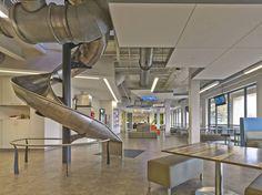 SevOne / Delaware - Spiral Slide and Work Play Space. Design by Mitchell Associates. Vinyl Flooring Installation, Office Floor, Luxury Vinyl Flooring, Interior Architecture, Ceiling Lights, Delaware, Design, Spiral, Photographers