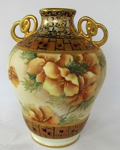 Antique Nippon Hand Painted Porcelain Vase Poppies 47 M in Wrearh Mark CA 1900 | eBay