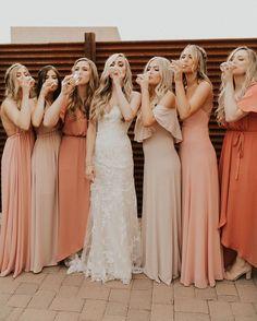 Mumu wedding - Show Me Your Mumu ~ Rosebud Chiffon x Dusty Blush x Rustic Mauve x Dancing Queen Shine Blush mumuweddings mumubridesmaids bridesmaiddresses bohowedding weddingthemes Mismatched Bridesmaid Dresses, Wedding Bridesmaid Dresses, Bridal Dresses, Coral Bridesmaids, Bridesmaids In Different Dresses, Bride Maid Dresses, Burgundy Bridesmaid Dresses, Rustic Wedding Dresses, Dresses Dresses